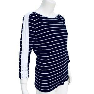 CHAPS   Crew Neck 3/4 Sleeve Striped Jersey Tee 1X